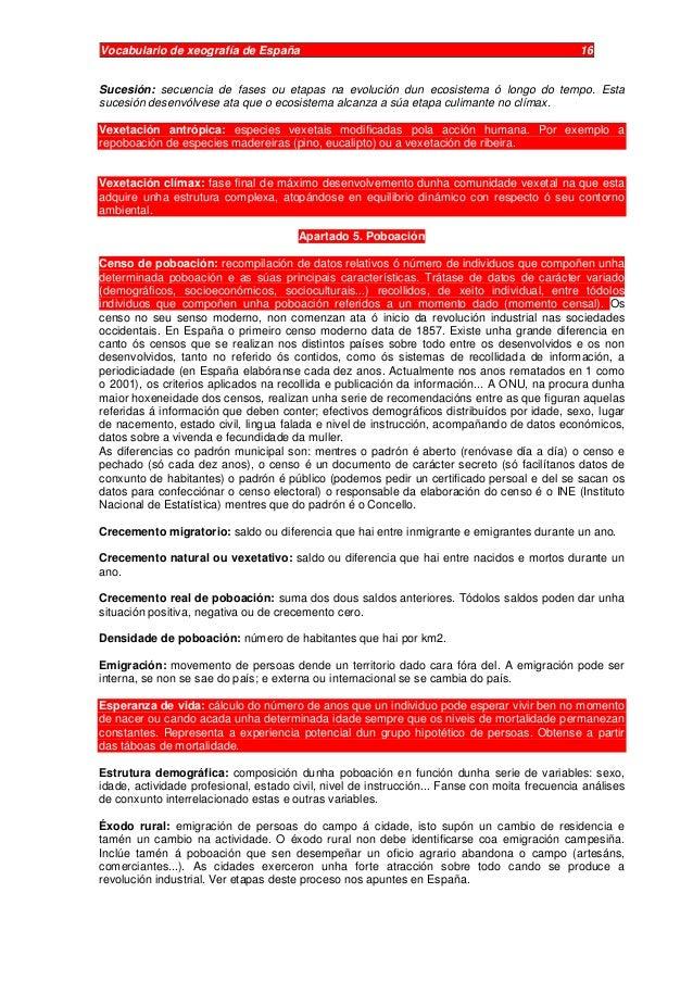 Vocabulario de xeografía de España 16 Sucesión: secuencia de fases ou etapas na evolución dun ecosistema ó longo do tempo....