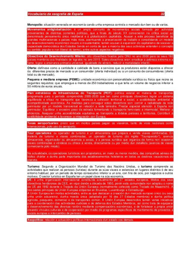 Vocabulario de Xeografía 2º de bacharelato