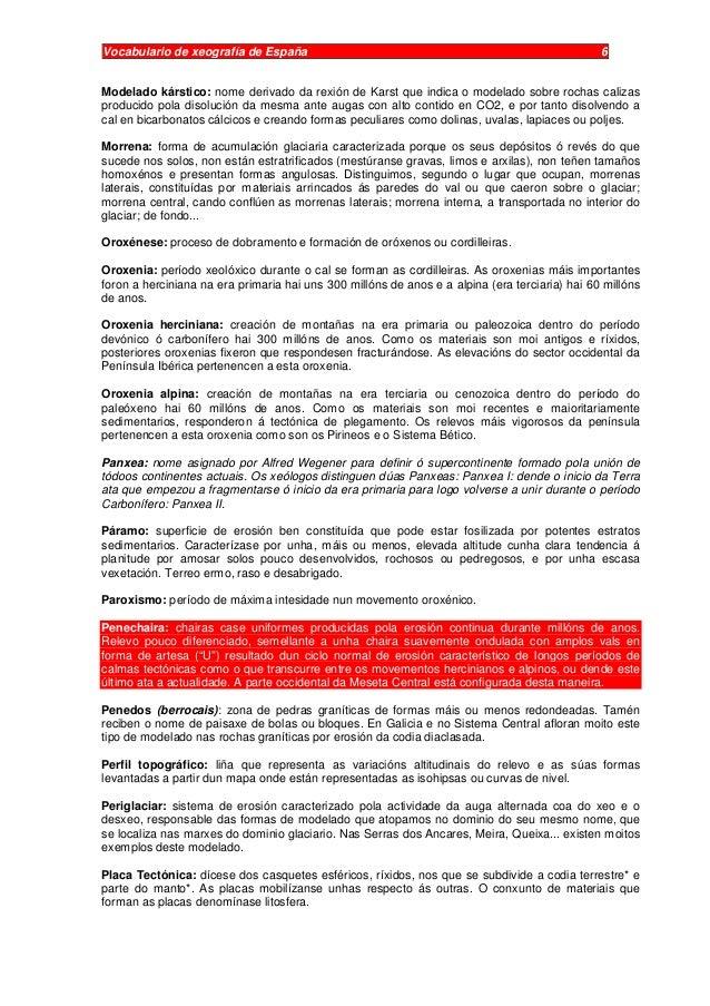 Vocabulario de xeografía de España 6 Modelado kárstico: nome derivado da rexión de Karst que indica o modelado sobre rocha...