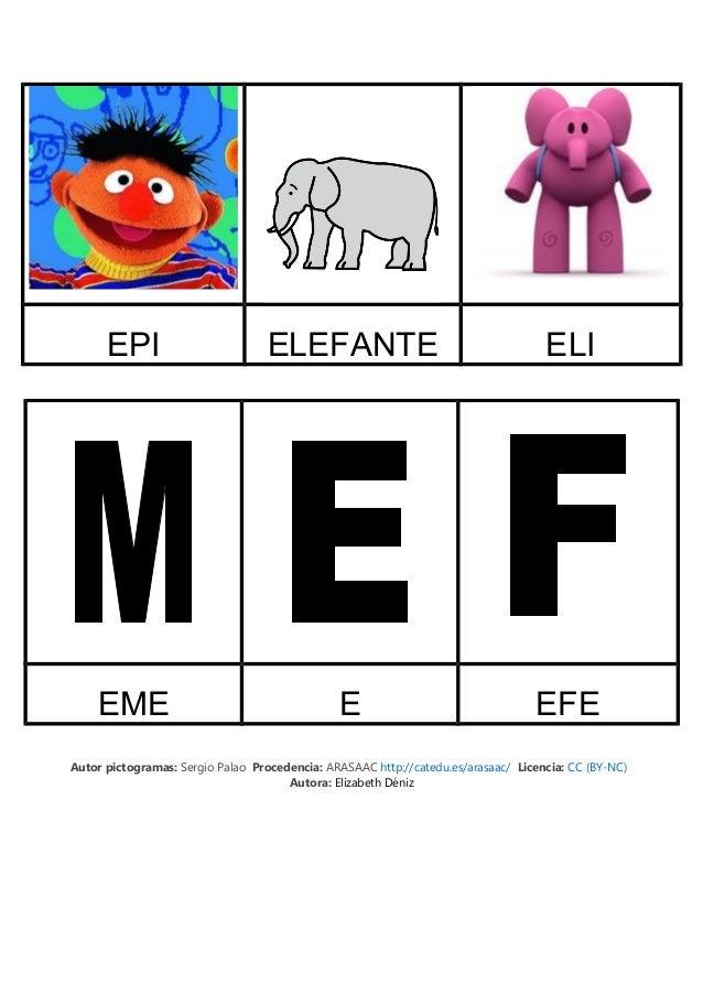 EPI ELEFANTE ELI EME E EFE Autor pictogramas: Sergio Palao Procedencia: ARASAAC http://catedu.es/arasaac/ Licencia: CC (BY...