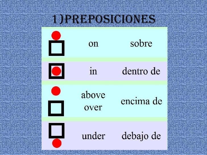 1)preposiciones