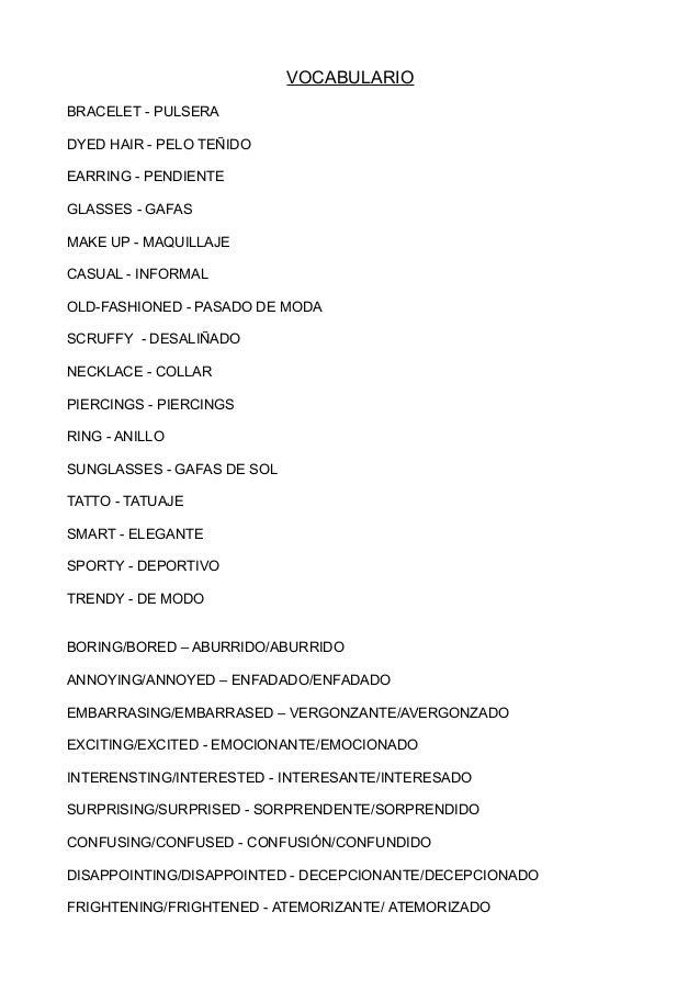 vocabulario de ingles