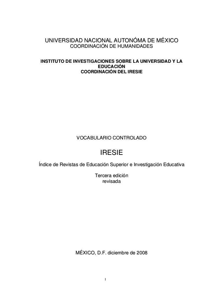 UNIVERSIDAD NACIONAL AUTONÓMA DE MÉXICO              COORDINACIÓN DE HUMANIDADESINSTITUTO DE INVESTIGACIONES SOBRE LA UNIV...