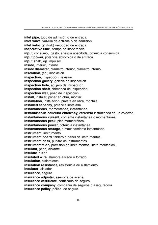 Worksheet. Vocabulario tecnico ingles espaol