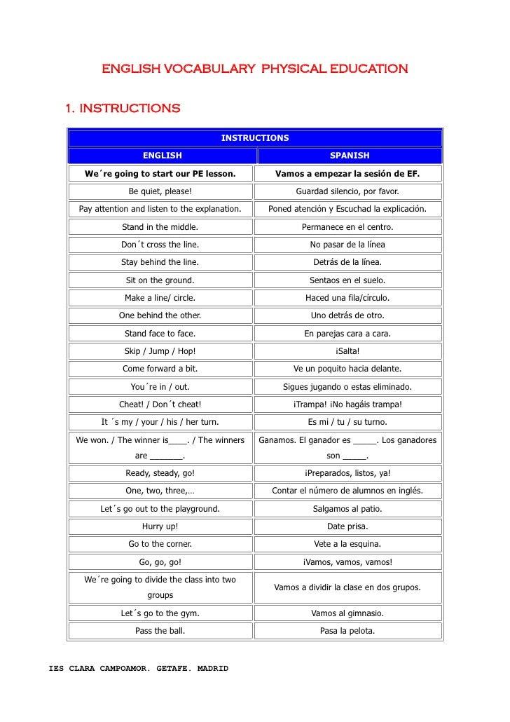 Vocabulario terminología y anatomia inglés