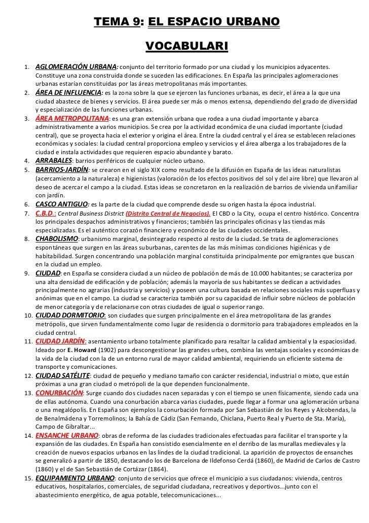 TEMA 9: EL ESPACIO URBANO                                             VOCABULARI1. AGLOMERACIÓN URBANA: conjunto del terri...