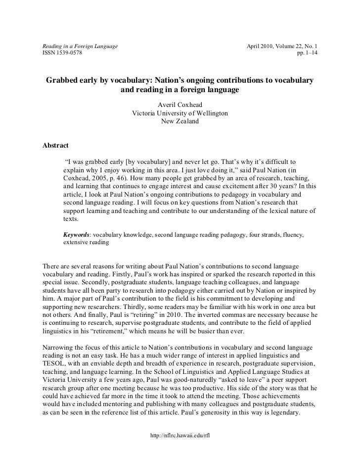 Reading in a Foreign Language                                              April 2010, Volume 22, No. 1ISSN 1539-0578     ...