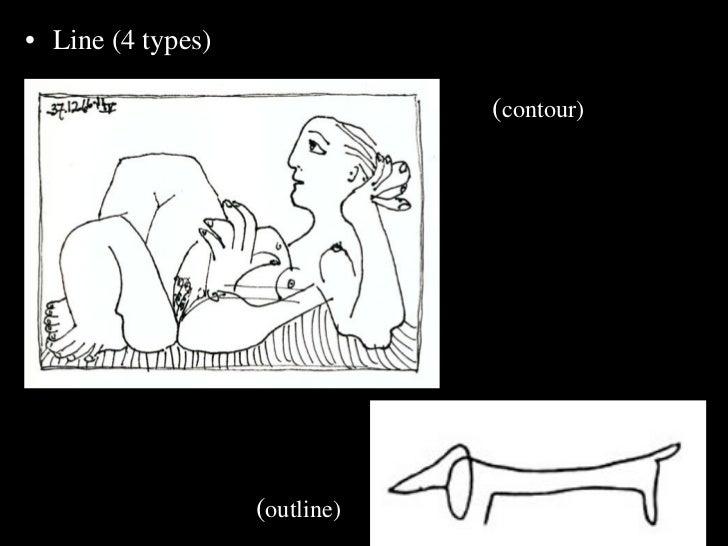 <ul><li>Line (4 types) </li></ul><ul><ul><li>( contour) </li></ul></ul><ul><ul><li>( outline) </li></ul></ul>