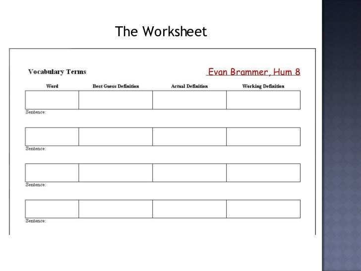 Vocabulary Worksheets – Vocabulary Worksheet