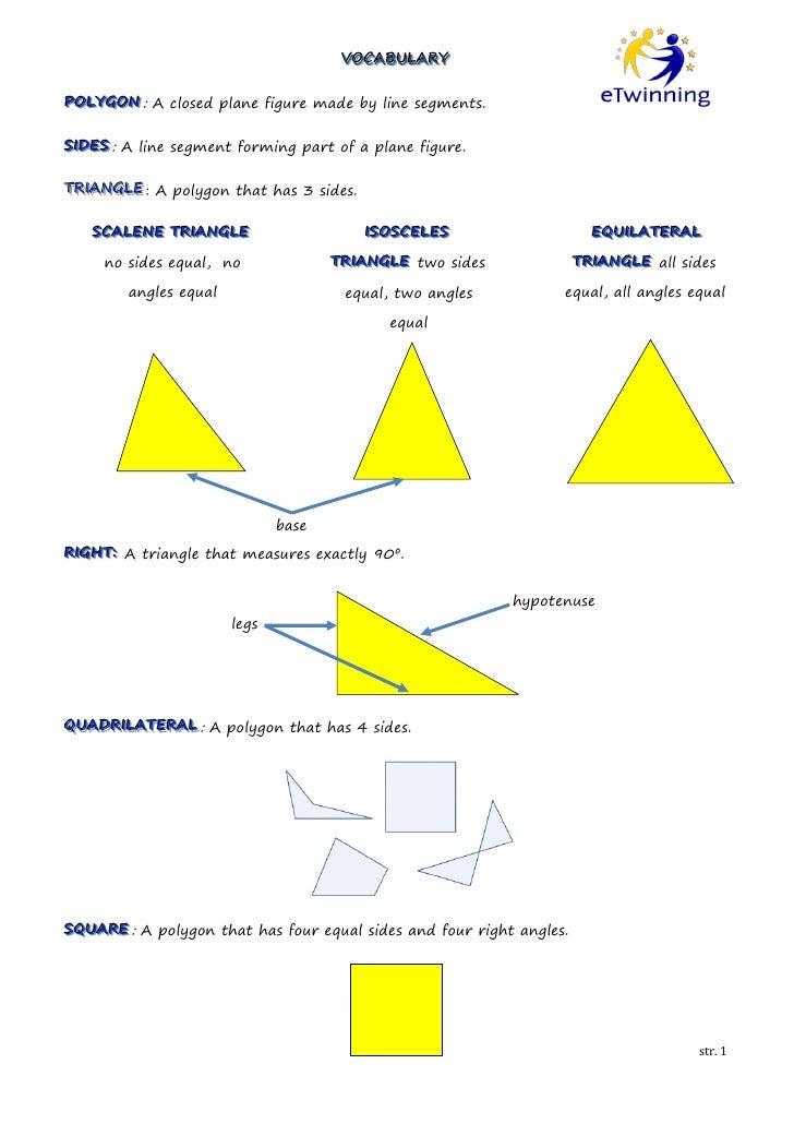 VOCABULARY                                      VOCABULARYPOLYGON : A closed plane figure made by line segments.POLYGONSII...