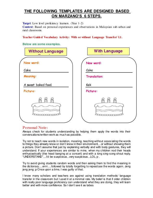 Marzano 6 step vocabulary template image collections for Marzano vocabulary template