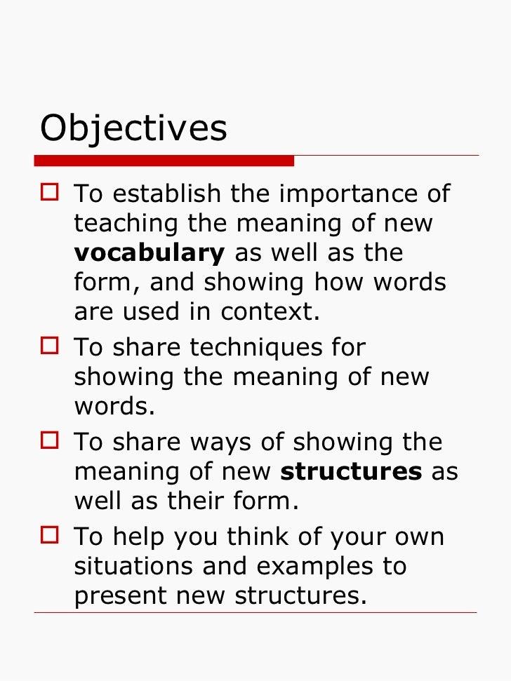 Vocabulary and grammar presentation