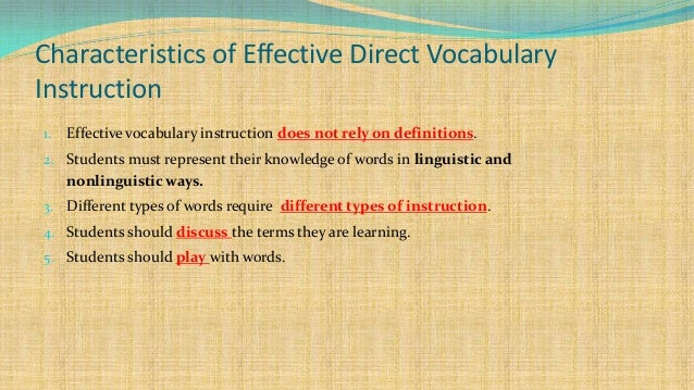 characteristics of effective direct vocabulary instruction Characteristics of effective vocabulary instruction  process for direct instruction in vocabulary what the research says  math vocabulary instructional strategies .