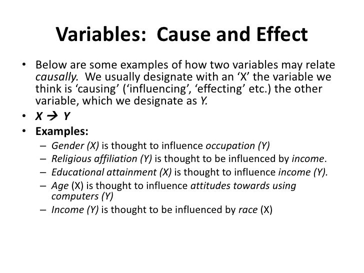 Variables:  Cause and Effect<br />Below are some examples of how two variables may relate causally.  We usually designate ...