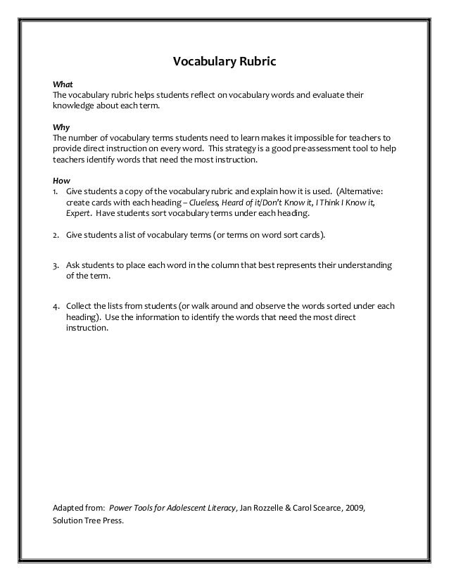 Vocabulary Rubric What The vocabulary rubric helps students reflect on vocabulary words and evaluate their knowledge about...