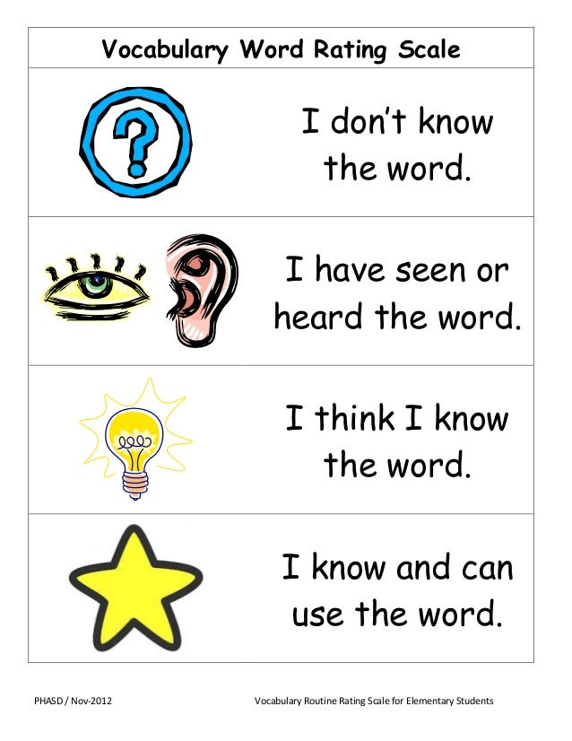Vocabulary Word Rating Scale  I don't know the word. I have seen or heard the word. I think I know the word. I know and ca...