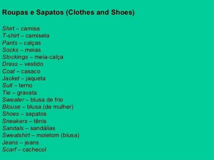 Vocabulário roupas -> Banheiro Feminino Em Ingles Traducao