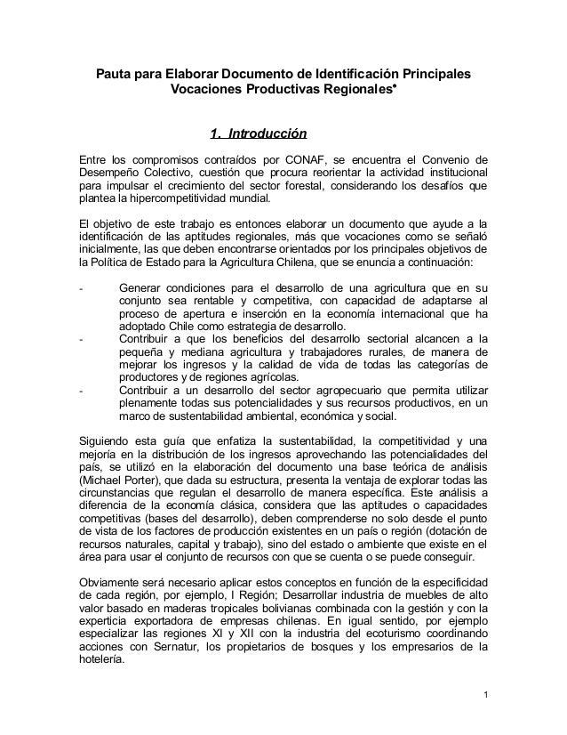 Pauta para Elaborar Documento de Identificación Principales Vocaciones Productivas Regionales• 1. Introducción Entre los c...