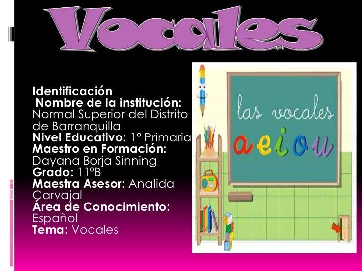 Vocales<br />Identificación<br />Nombre de la institución: Normal Superior del Distrito de Barranquilla<br />Nivel Educat...