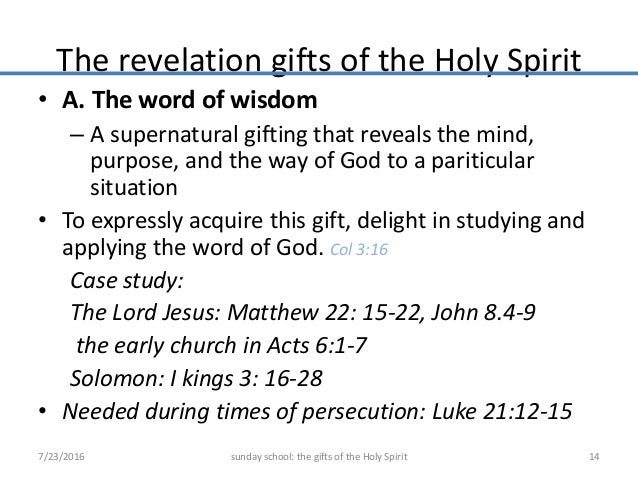 Gifts Of The Holy Spirit   The Revelation