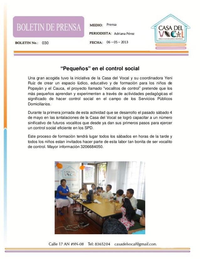"""""""Pequeños"""" en el control socialUna gran acogida tuvo la iniciativa de la Casa del Vocal y su coordinadora YeniRuiz de crea..."""