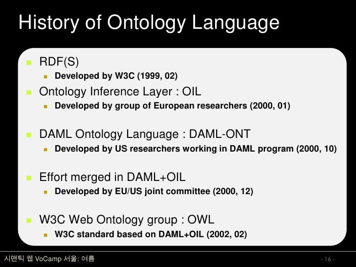 History of Ontology Language        RDF(S)            Developed by W3C (1999, 02)        Ontology Inference Layer : OIL...