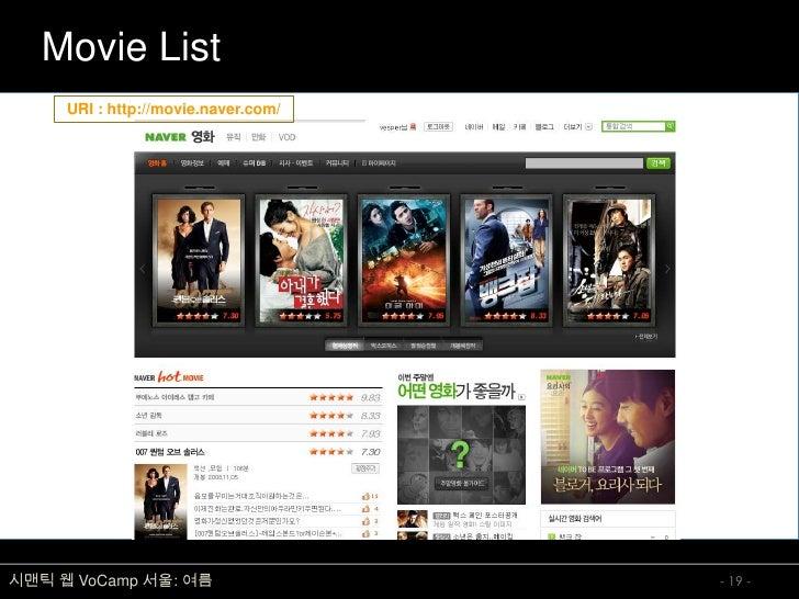 Movie List      URI : http://movie.naver.com/     시맨틱 웹 VoCamp 서울: 여름                  - 19 -