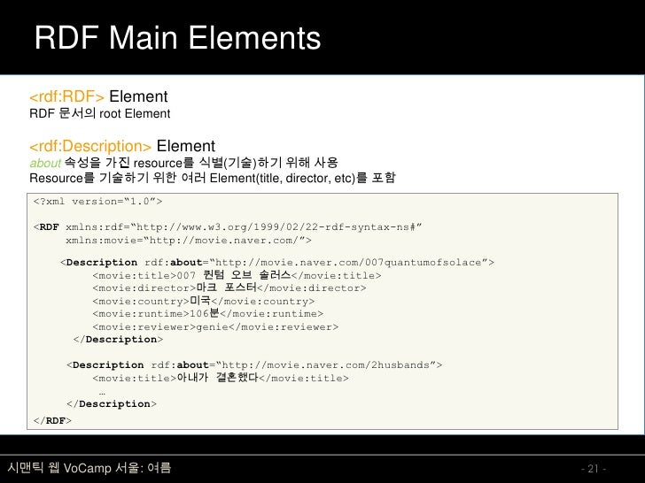 RDF Main Elements   <rdf:RDF> Element   RDF 문서의 root Element    <rdf:Description> Element   about 속성을 가진 resource를 식별(기술)하...
