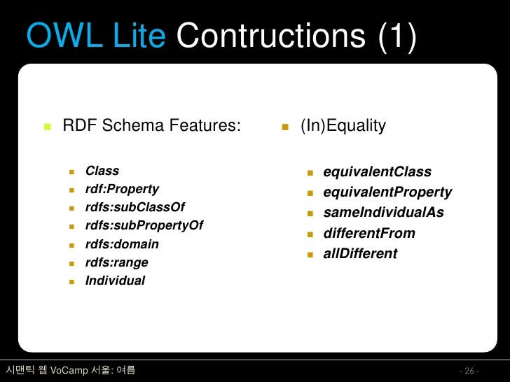 OWL Lite Contructions (1)          RDF Schema Features:        (In)Equality              Class                       e...