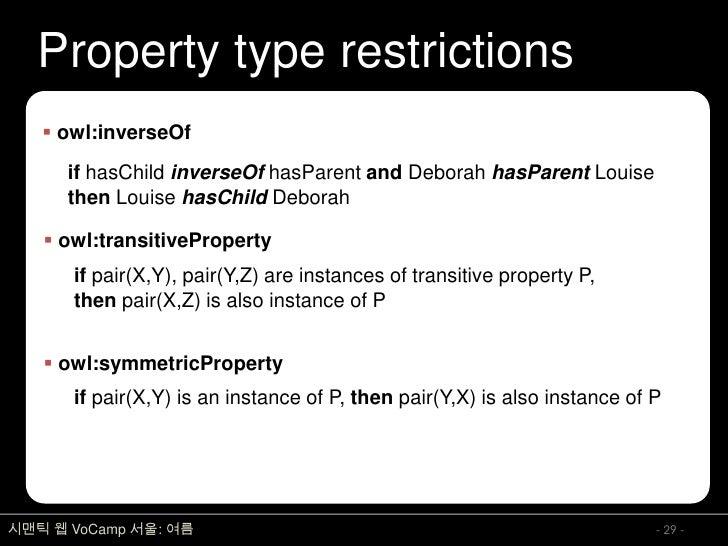Property type restrictions     owl:inverseOf       if hasChild inverseOf hasParent and Deborah hasParent Louise       the...