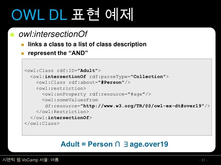 """OWL DL 표현 예제      owl:intersectionOf           links a class to a list of class description           represent the """"AN..."""