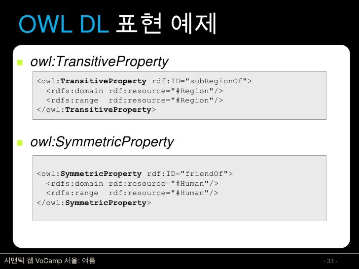 OWL DL 표현 예제      owl:TransitiveProperty        <owl:TransitiveProperty rdf:ID=quot;subRegionOfquot;>          <rdfs:doma...