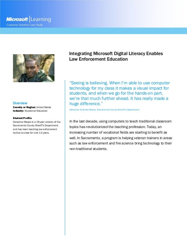Integrating Microsoft Digital Literacy Enables Law Enforcement Education Overview Country or Region: United States Industr...