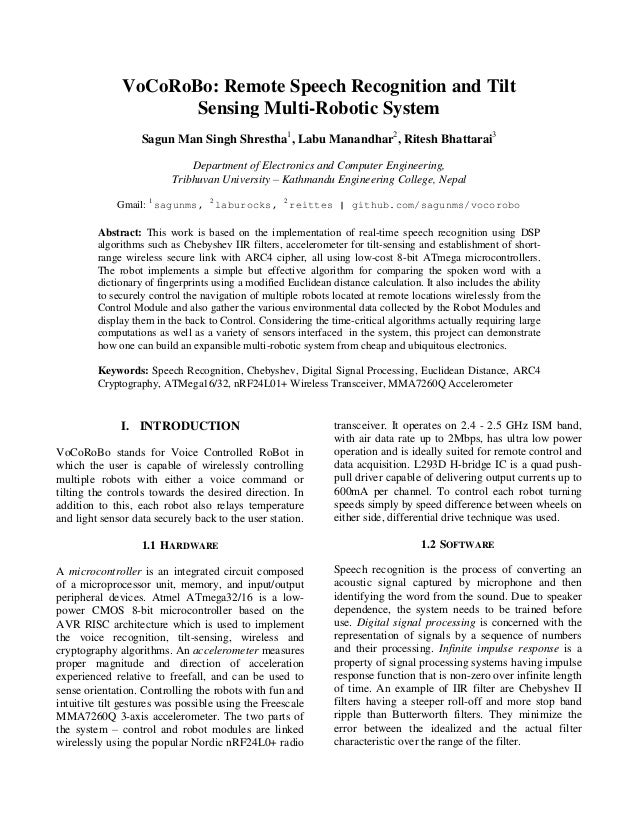 VoCoRoBo: Remote Speech Recognition and Tilt Sensing Multi-Robotic Sy…