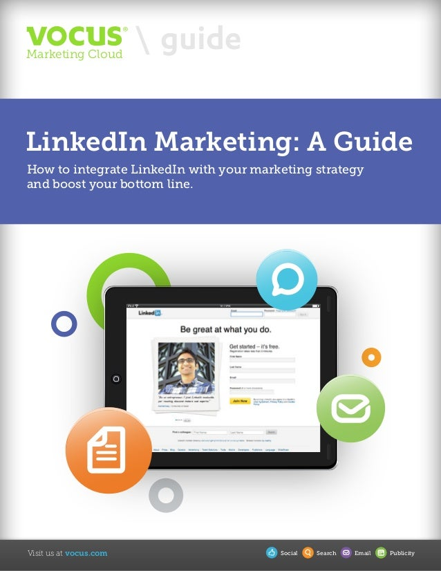 Visit us at vocus.com  guideMarketing Cloud Social Search Email Publicity iPad 10:15PM LinkedIn Marketing: A Guide How to ...