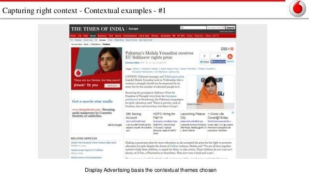 Capturing right context - Contextual examples - #1  Display Advertising basis the contextual themes chosen