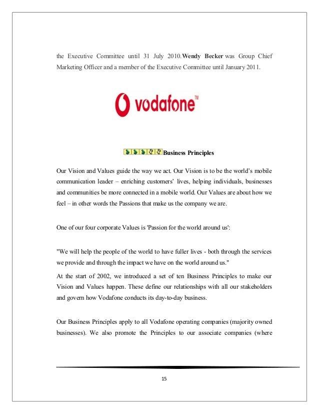 vodafone core values