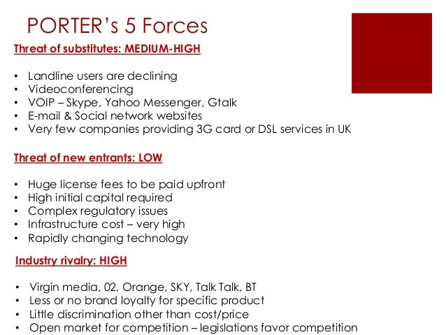 porter s 5 forces to vodafone Vodafone essar is an indian subsidiary of vodafone group and commenced its   the five components of porter's five forces model are listed below:.