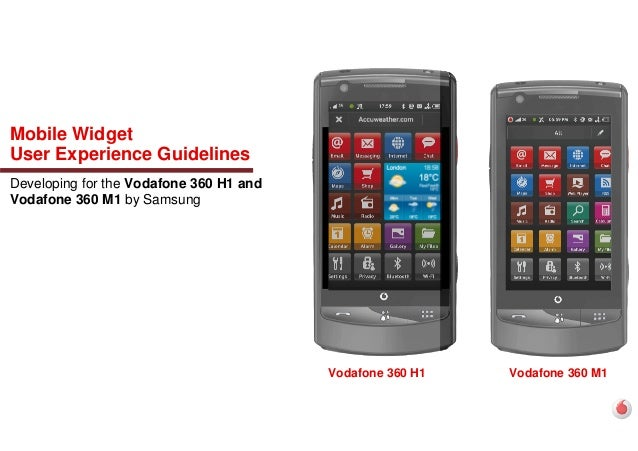 Mobile Widget User Experience Guidelines Developing for the Vodafone 360 H1 and Vodafone 360 M1 by Samsung Vodafone 360 M1...