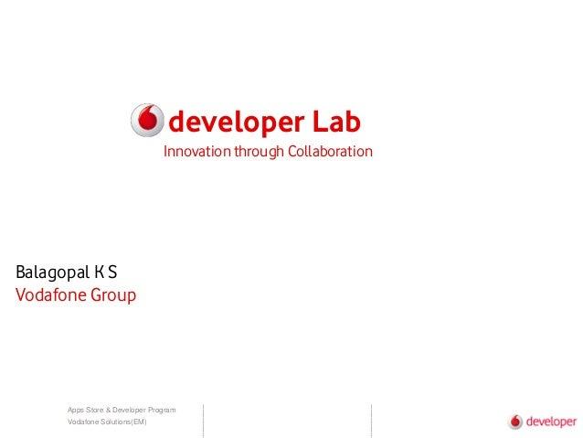 Apps Store & Developer Program Vodafone Solutions(EM) developer Lab Balagopal K S Vodafone Group Innovation through Collab...