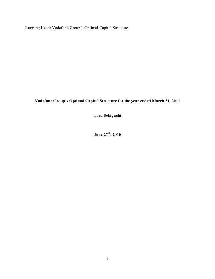 Vodafone  Optimal Capital Structure