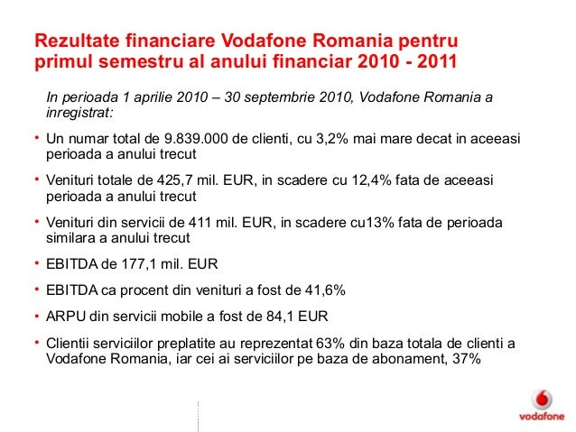 This Document is Classified as Company Internal Confidential In perioada 1 aprilie 2010 – 30 septembrie 2010, Vodafone Rom...