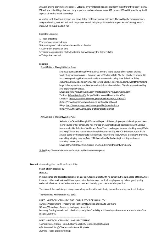 vodQA Pune - Innovations in Testing - Agenda