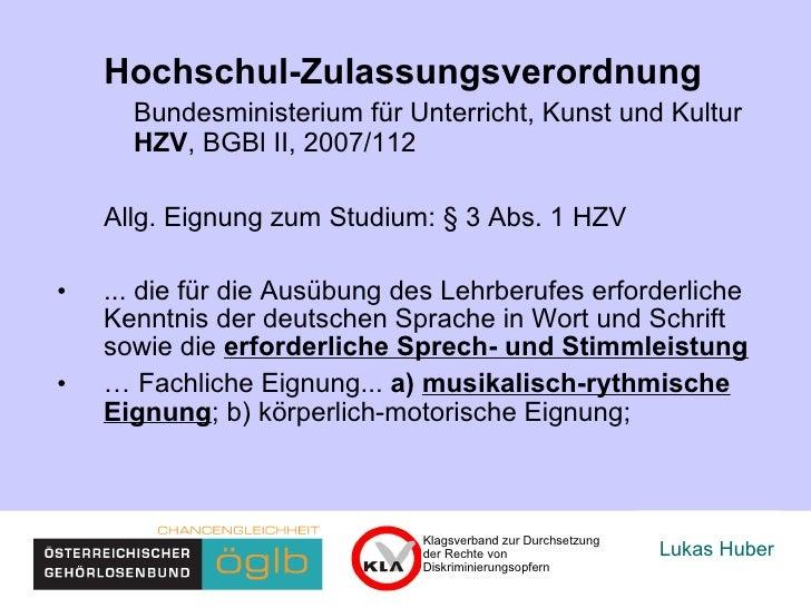 Lukas Huber Klagsverband zur Durchsetzung der Rechte von  Diskriminierungsopfern Hochschul-Zulassungsverordnung Bundesmini...