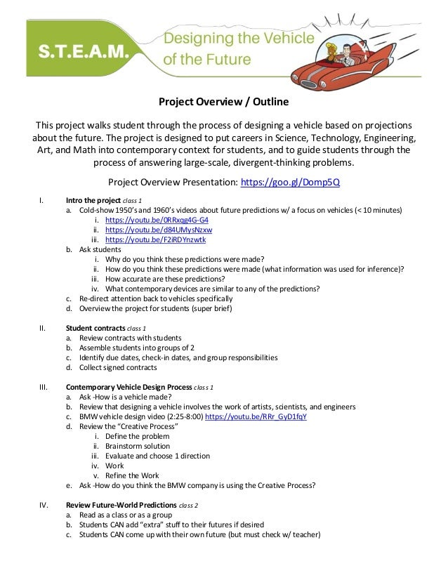 Project Overview / Outline This project walks student through the process of designing a vehicle based on projections abou...