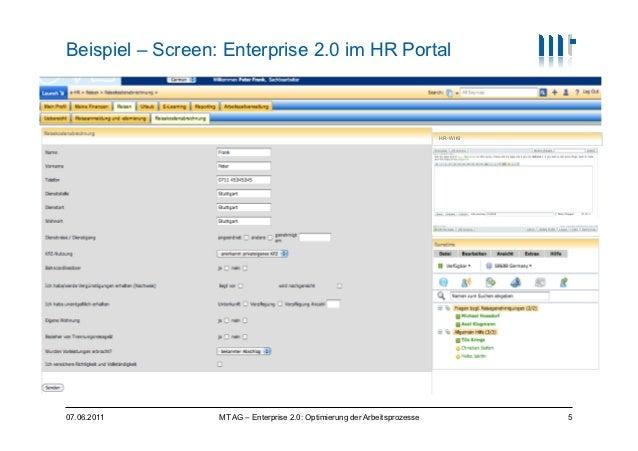 Beispiel – Screen: Enterprise 2.0 im HR Portal                                                                            ...