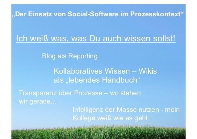 """""""Der Einsatz von Social-Software im Prozesskontext""""  Zusammenfassung Ich weiß was, was Du auch wissen sollst!             ..."""
