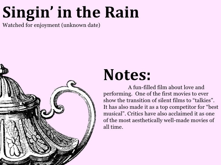 Singin' in the RainWatched for enjoyment (unknown date)                                       Notes:                      ...