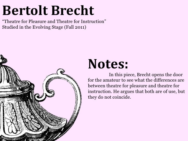 Bertolt Brecht―Theatre for Pleasure and Theatre for Instruction‖Studied in the Evolving Stage (Fall 2011)                 ...