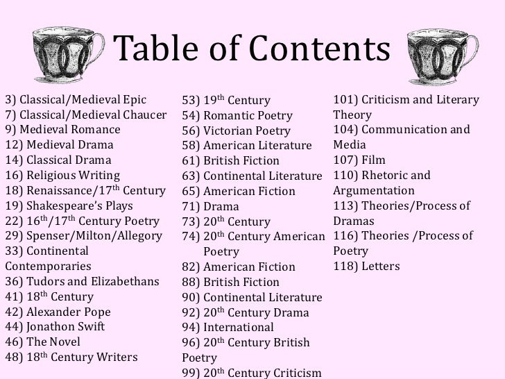 Table of Contents3) Classical/Medieval Epic      53) 19th Century             101) Criticism and Literary7) Classical/Medi...